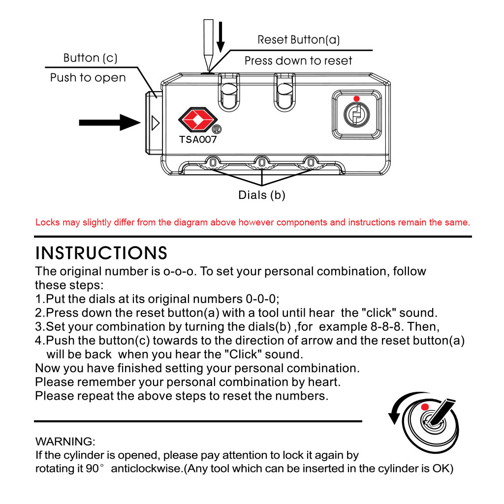TSA Lock Instructions